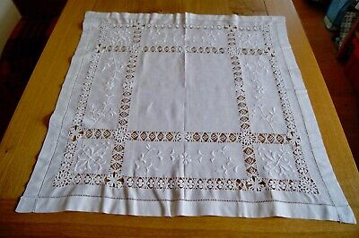 """ANTIQUE VINTAGE TABLECLOTH Whitework Embroidery Tenerife Needlelace 29"""" Sq #T16"""