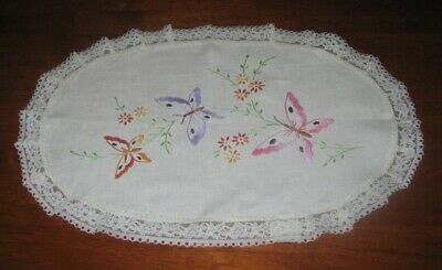 Large Vintage Hand Embroidered Table Centre Piece/doily~Butterflies~Lace Edged