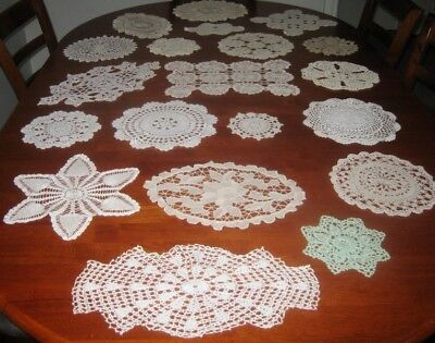 20 Vintage Crocheted Lace Doilies ~ Cotton ~ Shades Of White, Cream & Beige