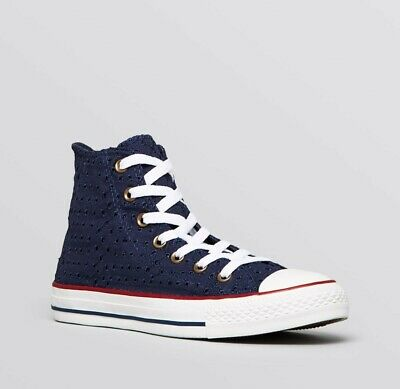 539582c4230a Good Condition Converse All Star Chuck Taylor High Top Navy Lace Design  RARE UK5
