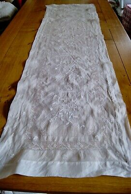 ANTIQUE VINTAGE PINA LINEN TABLE RUNNER Whitework Embroidery Chinese? Oriental