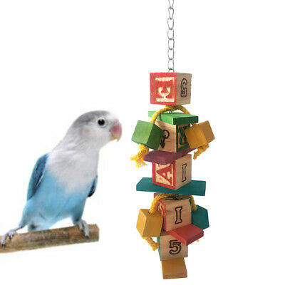 Colorful Parrot Pet Bird Hanging Chew Toy Bells Ball Wood Blocks Swing Toy Gift