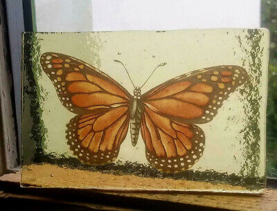 Stained Glass Monarch Butterfly - vintage Kiln fired fragment pane piece!