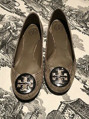 f141cce2d TORY BURCH REVA Metallic Embossed Leather Logo Ballet Flats Silver ...