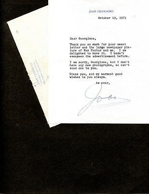 Joan Crawford Typed Letter Hand Signed About Her Work For Max Factor