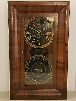 Antique 1890 National Calendar Clock Co. Double Dial Rosewod Ogee Mantel Clock