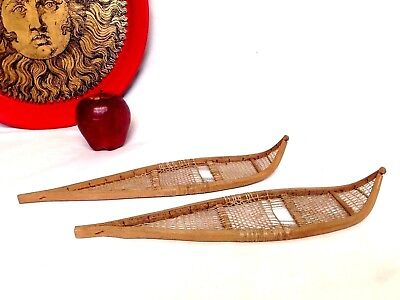 Antique Eskimo Inuit Hand Craft Miniature Small Wooden Snow Shoes