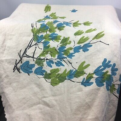 Vintage Linen Vera Neumann Tablecloth Round 64 Blue and Green Leaves