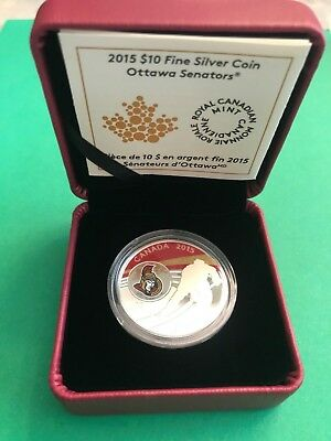 Canada 2015 Ottawa Senators $10 Dollar Silver Coin RCM Packaging & Certificate
