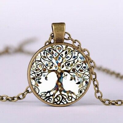 3pcs Fashion Retro Colorful Tree of life DIY alloy glass pendant Necklace