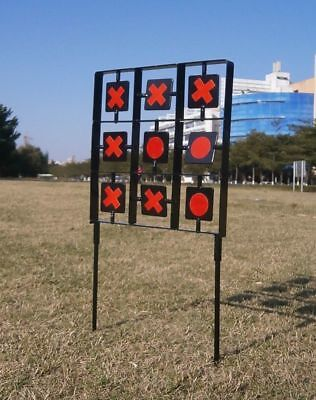 Noughts & Crosses Self Resetting Spinning Air Gun Rifle Shooting Metal Target