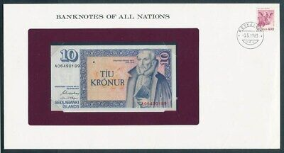 Iceland: 1981 10 Kronur Banknote & Stamp Cover, Banknotes Of All Nations Series