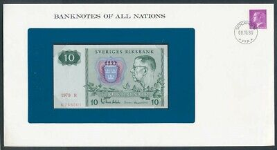 Sweden: 1979 10 Kronor Note & Stamp Cover Banknote Of All Nations Series