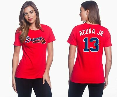 Ronald Acuña Jr. - Atlanta Braves #13 Jersey Style Women's Graphic T