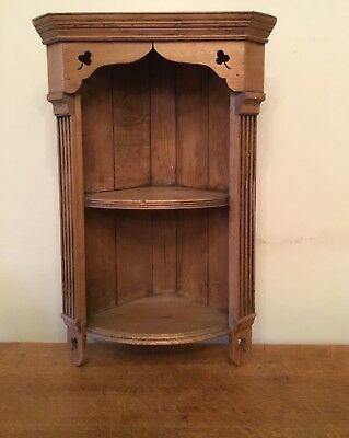 Irish Arts & Crafts Small Oak Corner Shelves with Carved Shamrocks