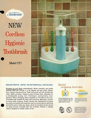 "Vintage AD 1965 ""SUNBEAM CORDLESS TOOTHBRUSH"" Jobbers SELL SHEET CT-7 & CT-8"