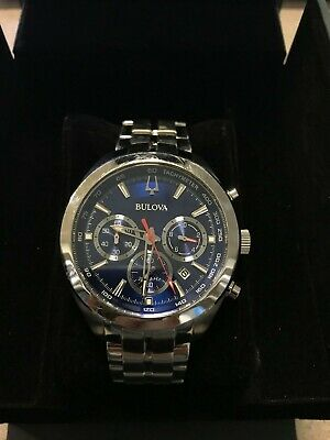 Bulova 96B285 Men's Blue Dial Silver-Tone Quartz Chronograph Watch (PRE-OWNED)