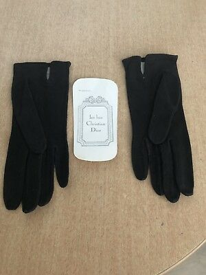 Christian Dior Gant Mi-Longs En Peau Noir - Gloves
