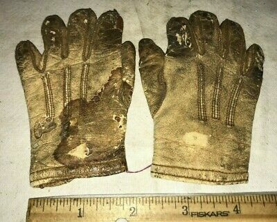 Antique Child Leather Gloves Vintage Clothing Bacmo Make Brass Button Miniature
