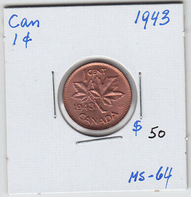 1943 Canada Small One Cent Penny Coin - Very Nice