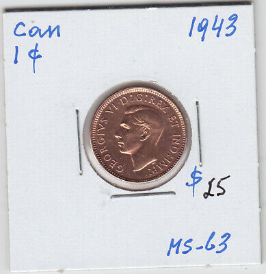 1943 Canada Small One Cent Penny Coin