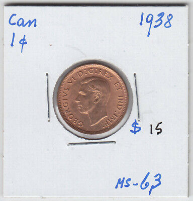 1938 Canada Small One Cent Penny Coin