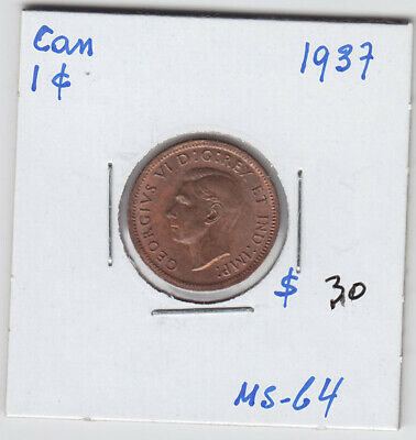 1937 Canada Small One Cent Penny Coin