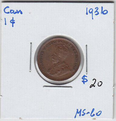 1936 Canada Small One Cent Penny Coin