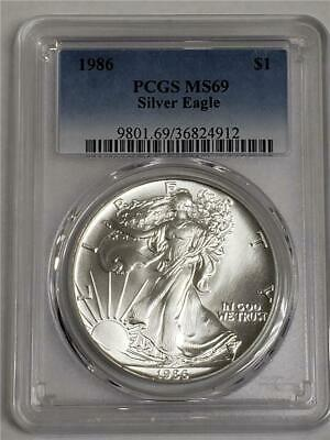 1986 Silver American Eagle MS69 PCGS US Mint $1 Coin