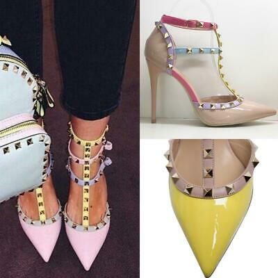 Designer Studded Ankle Strap Pointed Toe Court High Heels Tbar Stiletto Sandals