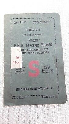 Instruction booklet for Singer BRK Electric motor sewing machines