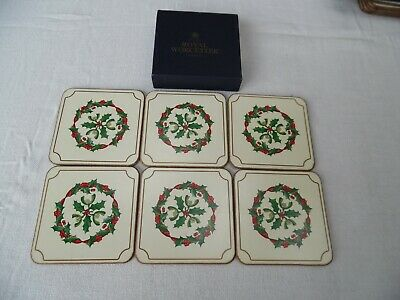 Royal Worcester Set of Six Coasters - Holly Ribbons - Boxed