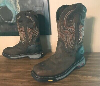 d92ce6503aa JUSTIN WESTERN WORK Boots SIZE 12D MEN'S Driscoll Mahogany SQUARE ...