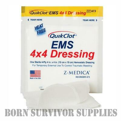 QUIKCLOT EMS 4x4 HEMOSTATIC DRESSING - 10cm Quickclot First Aid Trauma Kit Gauze
