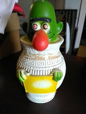 "Vintage Plastic Piggy Bank - 1971 Green Monster in Urn 14"" missing label"