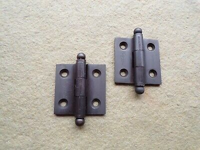 "Pair Hinges Cabinet Door Furniture Oil Rubbed Bronze Ball Tip 1 1/2"" x 1 1/2"""