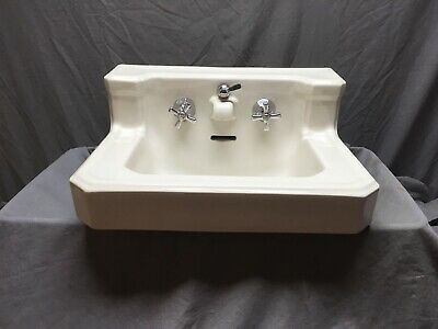 Antique White Porcelain Ceramic Bathroom Sink Standard Shelf Back Old Vtg 48-19E