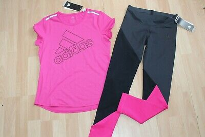 Nwt Girls Adidas Sz Xl 16-18 Pink Shirt, Black Leggings