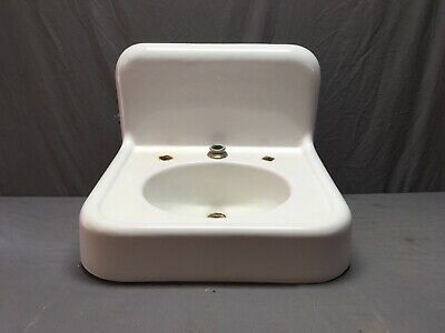 "Antique High Back 24"" Cast Iron White Porcelain Wall Mount Bath Sink Vtg 49-19E"