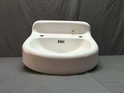 Vtg Cast Iron White Porcelain Bathroom Wall Mount Sink Old Lavatory 50-19E