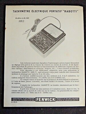 Document publicitaire FENWICK outillage embrayage auto 1960 idem facom