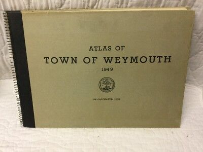 Large Vintage 1949 Atlas Of The Town Of Weymouth Mass MA By Russell H Whiting