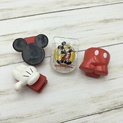 Walt Disney World Parks Mickey Mouse Food Chip Bag Clip Magnet Set 4 Ears