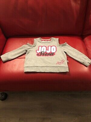 31574f6f0ff45e Girls Jojo Siwa Grey Jumper Sweater Top Cropped With Cold Shoulder Age 7-8