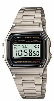 Retro CASIO A158W Unisex Classic Silver Digital Stainless Steel Water Resistant