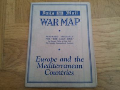 Daily Mail WARMAP - Europe and the Mediterranean Countries 1940 VINTAGE ORIGINAL