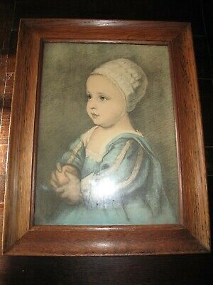Antique Vintage Picture Print Portrait Child with Orange Original Oak Frame