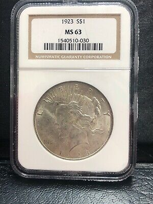 "1923  Peace Silver Dollar  ""ngc Ms63"""