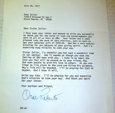 1977 Oral Roberts signed letter; Christian preacher