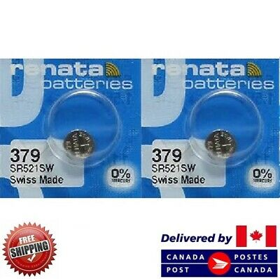 2 PCS Renata 379 Watch Batteries 0% MERCURY SR521SW Swiss Made CDN SELLER